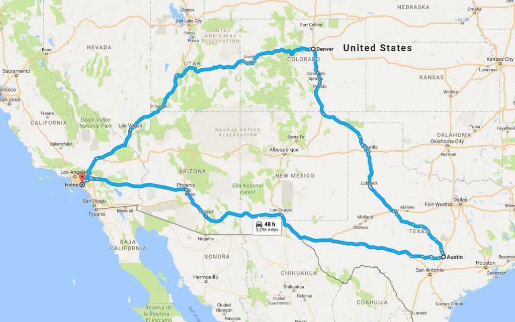 map directions going from irvine ca, to denver co, to austin tx and back